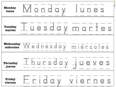 days of the week in spanish spanish4kiddos tutoring. Black Bedroom Furniture Sets. Home Design Ideas