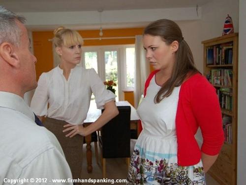 Mrs Partridge demands her husband spank the naughty au pair, Aleesha Fox