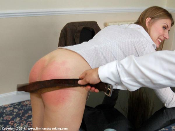 Richard Anderson stings Belinda's bottom with the belt in this office strapping scene