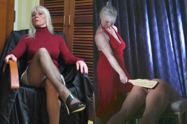 Dana shows you her strap and deals with a naughty male