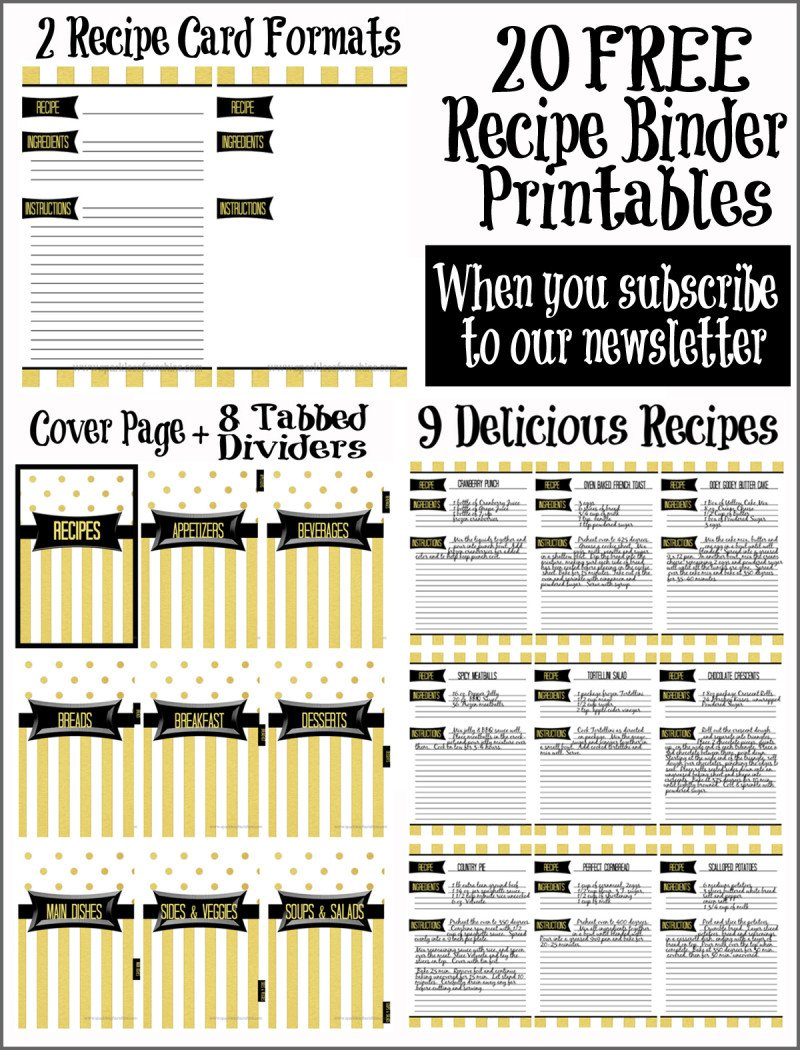 It is an image of Shocking Free Printable Recipe Binder