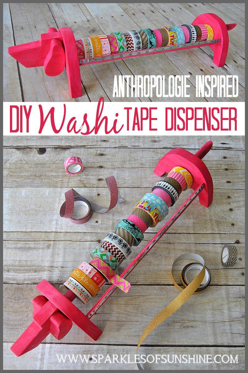 anthropologie inspired diy washi tape dispenser sparkles of sunshine. Black Bedroom Furniture Sets. Home Design Ideas