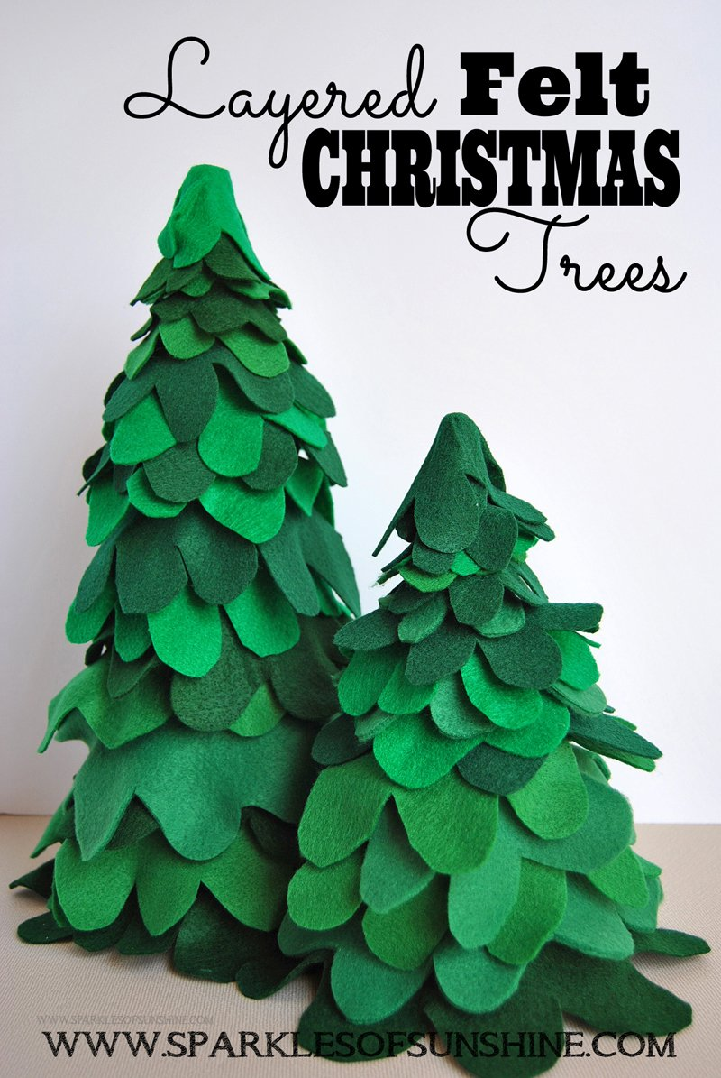 These Layered Felt Christmas Trees are an easy fun craft for the holidays. See the easy tutorial at Sparkles of Sunshine.