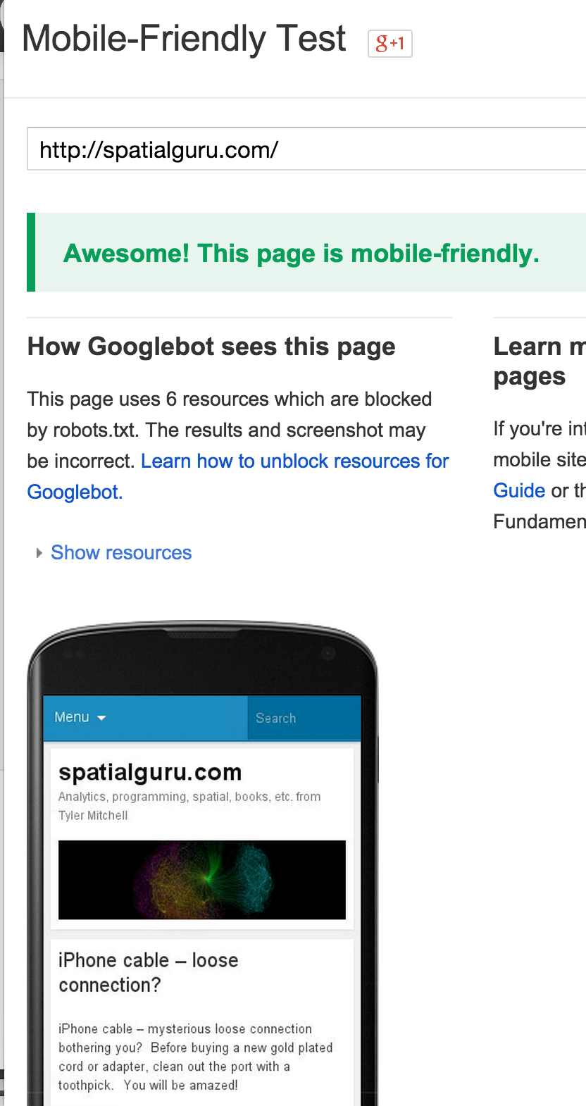 Google mobile check fixed success