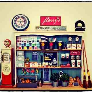 DIY hardware store, gas pump and rocket ship