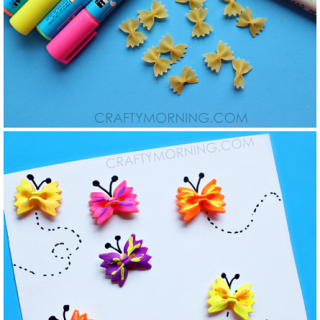 Autism friendly bow tie pasta crafts for kids