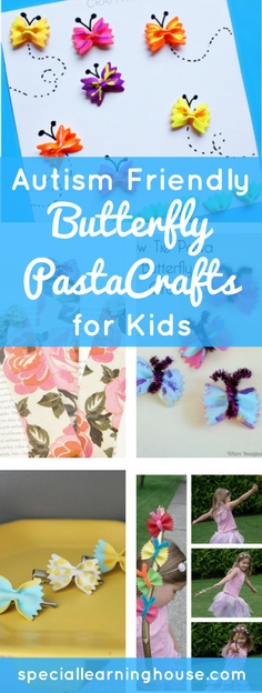 These Autism friendly bow tie pasta crafts for kids are creative & fun. A great way to engage your child, build fine motor skills & have fun! | speciallearninghouse.com
