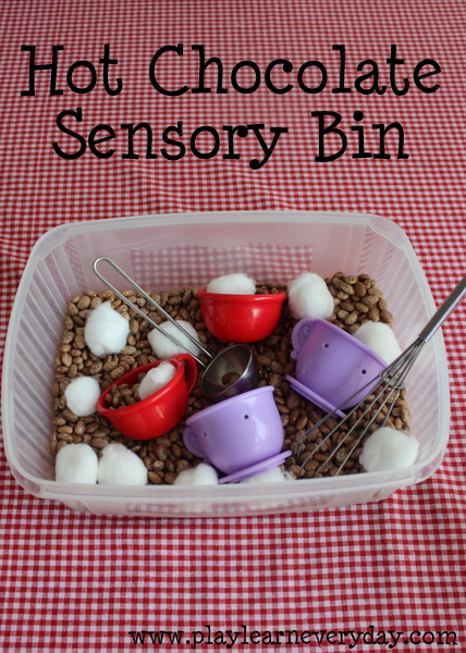 Sensory box ideas for kids with autism. Hot Chocolate Sensory Bin. | speciallearninghouse.com