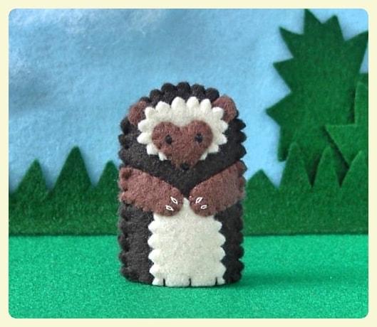 Hedgehog finger puppet for kids.