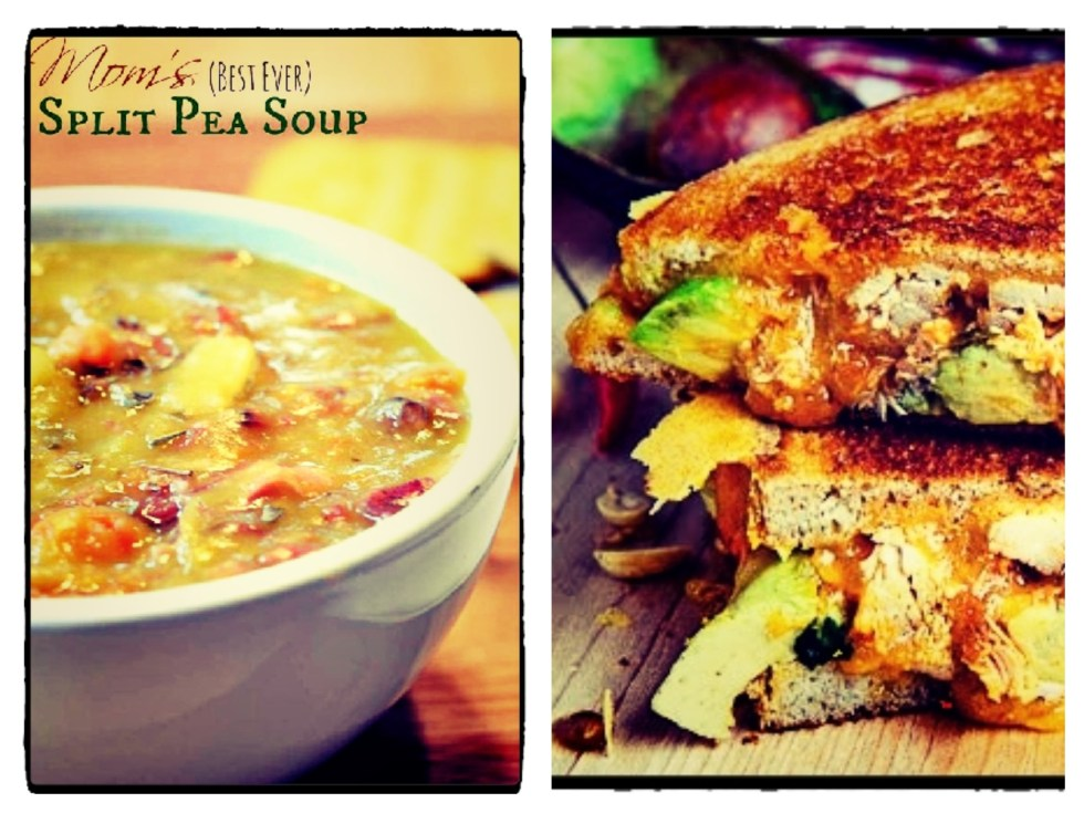 Split pea soup & grilled cheese montage