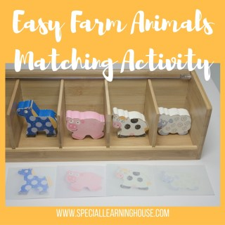 Easy farm animals matching activity