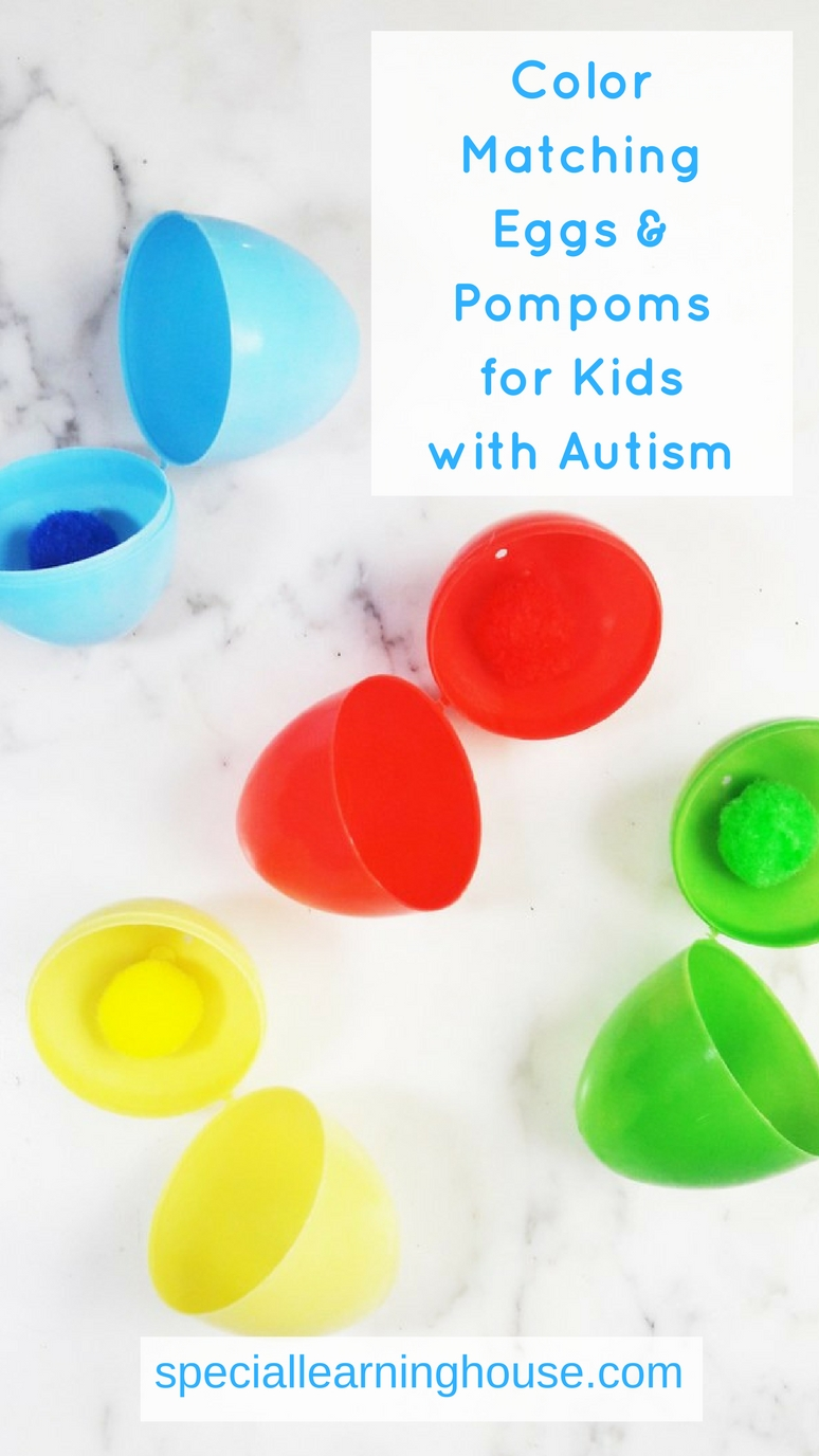 Color matching eggs & pompoms for kids with autism. I love this activity to teach kids with autism to match colors. | speciallearninghouse.com