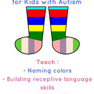 Colorful socks playdough mat for kids with autism (free printable)