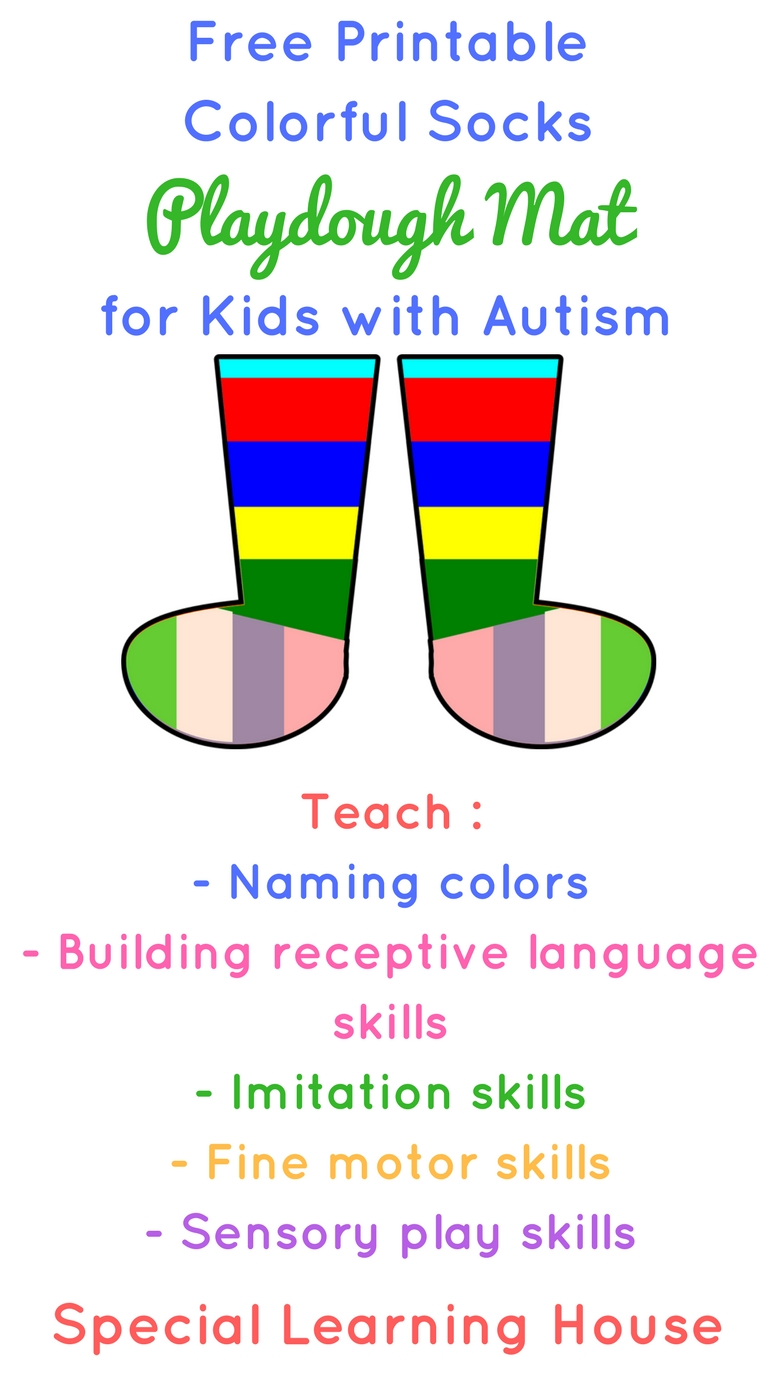 Free Printable Colorful Socks Playdough Mat for Kids with Autism and Other Special Needs. | speciallearninghouse.com