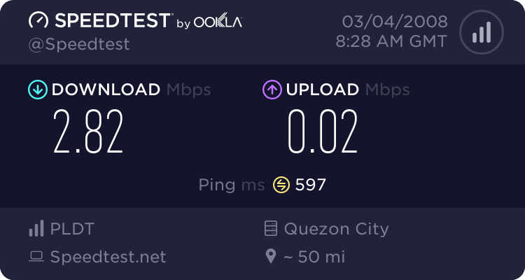 my bandwidth speedtest