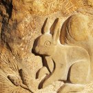 """Red squirrel and lettering carved in Moray """"Clashach"""" sandstone"""