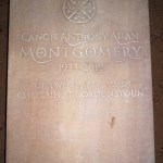 Hand-carved sandstone memorial headstone with Celtick knot knot work motif