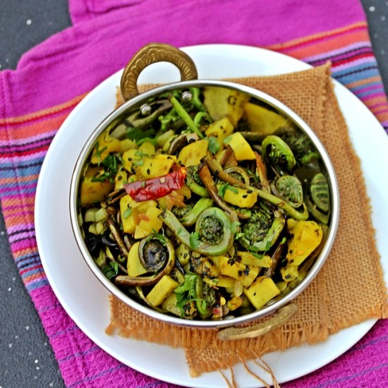 Dheki Shaag – Fiddleheads Cooked with a Bengali Seasoning