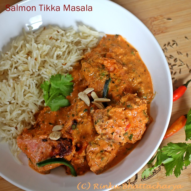 Salmon Tikka Masala - Grilled Salmon in a Tomato Cream Sauce