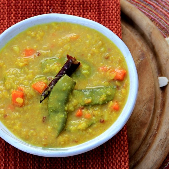 Bhaja Mooger Dal – Roasted Yellow Split Lentils with Hyacinth Beans and Carrots