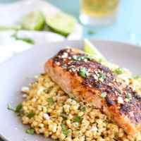 Chili Lime Salmon with Mexican Street Corn Sauté