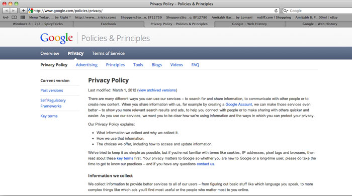 google privacy Google Modified its Privacy Policy   [How to remove your Web History From Tracking]