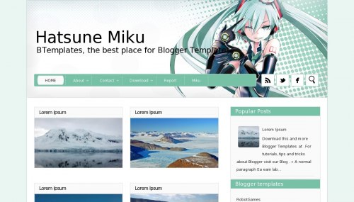hatsune miku blogger template Top 10 Beautiful Adsense Optimized Blogger Templates for April 2013