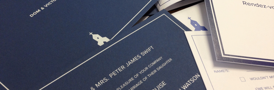 white foil on blue card wedding stationery