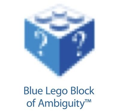 Blue lego block of ambiguity