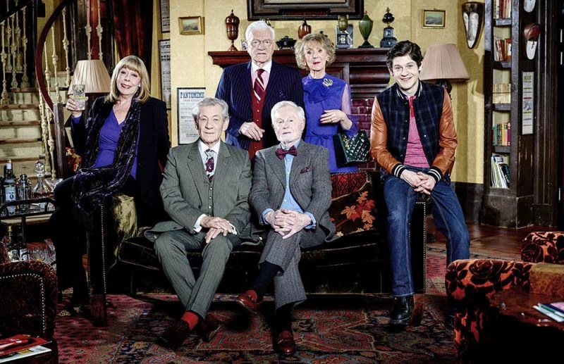 From ITV Vicious: SR2 on ITV Pictured: Violet [Frances de la Tour], Freddie [Ian McKellen], Mason [Philip Voss], Stuart [Derek Jacobi], Penelope [Marcia Warren] and Ash [Iwan Rheon]. This photograph is (C) ITV Plc and can only be reproduced for editorial purposes directly in connection with the programme or event mentioned above, or ITV plc. Once made available by ITV plc Picture Desk, this photograph can be reproduced once only up until the transmission [TX] date and no reproduction fee will be charged. Any subsequent usage may incur a fee. This photograph must not be manipulated [excluding basic cropping] in a manner which alters the visual appearance of the person photographed deemed detrimental or inappropriate by ITV plc Picture Desk.  This photograph must not be syndicated to any other company, publication or website, or permanently archived, without the express written permission of ITV Plc Picture Desk. Full Terms and conditions are available on the website www.itvpictures.com For further information please contact: james.hilder@itv.com / 0207 157 3052