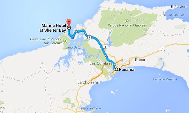 3-Map of Shelter Bay marina to Panama City