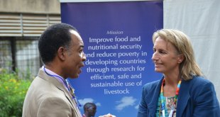 ILRI's Fiona Flintan with Abdelkader Bensada of UNEP  Photo credit: ILRI/Dorine Odongo