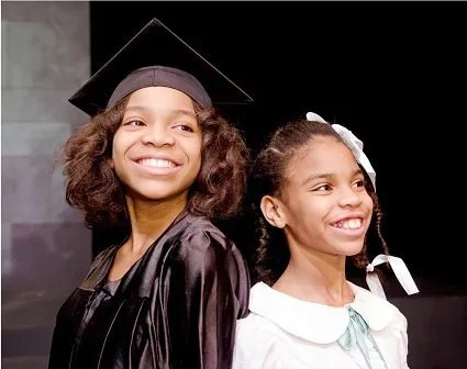 (l-r) Sisters Essence and Rhapsody Stiggers play the older and younger Ruby Bridges, who integrated a New Orleans elementary school in 1960. Photo courtesy of SteppingStone Theatre