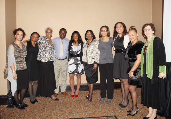 MNBNA President Shirlynn LaChapelle is third from left above; next to her is Felix Neba, RN; sixth from left is NBNA President Rev. Dr. Deidre Walton; and at the far right is Margaret Pharris, dean of nursing at St. Catherine University. All others pictured are St. Catherine University nursing students and faculty who participated in the event.    Photo by Angela Gerlach, SCHS