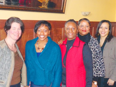 (l-r) City Council Member Elizabeth Glidden, Toni Newborn, Velma Korbel, Karen Francois, and Jennifer White (council office associate for Glidden) Photo by Charles Hallman