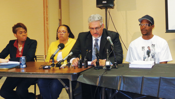 (l-r) Attorney Karlowba Powell, Sheila O'Neal (victim's mother), Attorney Michael Padden and Walter Franklin (victim's father).