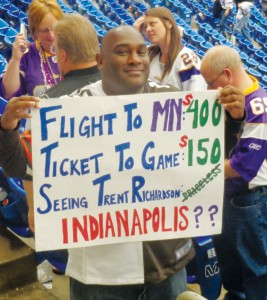 A Cleveland Browns fan ticks off the costs of coming to the game at the Metrodome.