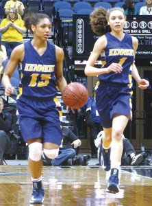 Sisters Jade and Jazmin Martin of Bloomington Kennedy race up the court in the Class 4A title game against Hopkins in March.