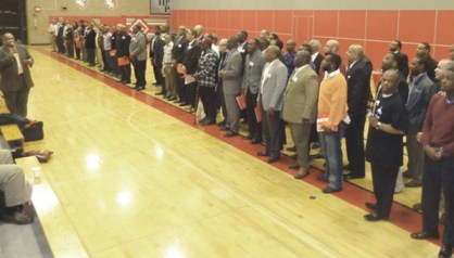 Approximately 80 local Black men  met with Black male students on  Friday, April 11 at Patrick Henry High school  as part of the 100 Strong Who Care mentoring program.
