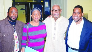 (l-r) Dr. Ezra Hyland, Professor Rose Brewer, Omali Yeshitela  and Master of Ceremonies Mel Reeves             Photos by Charles Hallman