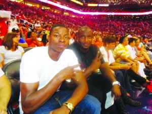 """Roosevelt Scott of St. Paul, left, enjoyed his first-ever WNBA game with friend D'Marr Suggs, who now lives in the Phoenix area. See Scott's profile in this week's """"Prep Scene."""""""