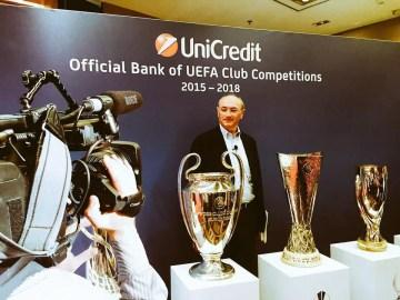 """Federico Ghizzoni (ceo Unicredit group) a Berlino durante la presentazione """"global"""" dei diversi trofei calcistici a marchio Uefa."""