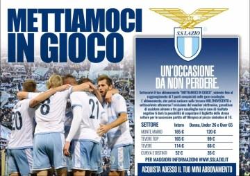 """Una immagine dell'iniziativa """"Mettiamoci in Gioco"""" lanciata dalla SS Lazio per la propria fan base."""
