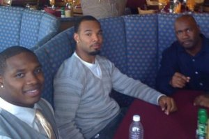 Football agent Rob London (right) with clients Maurice Jones-Drew and Matt Forte.