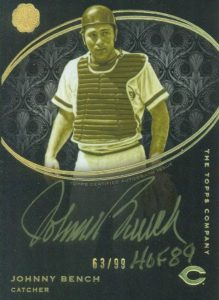 2016 Topps The Mint Johnny Bench Golden Engravings Autograph Card