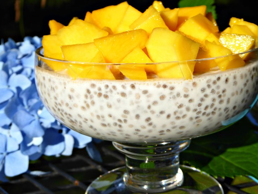 Coconut and mango chia pudding close up