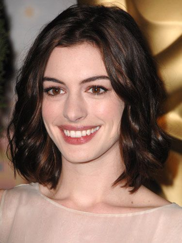 30 Brown Long Bob Hairstyles  We love a good LOB  Page 1 of 2 Anne Hathaway Wavy Long Brown Bob Prom Hair