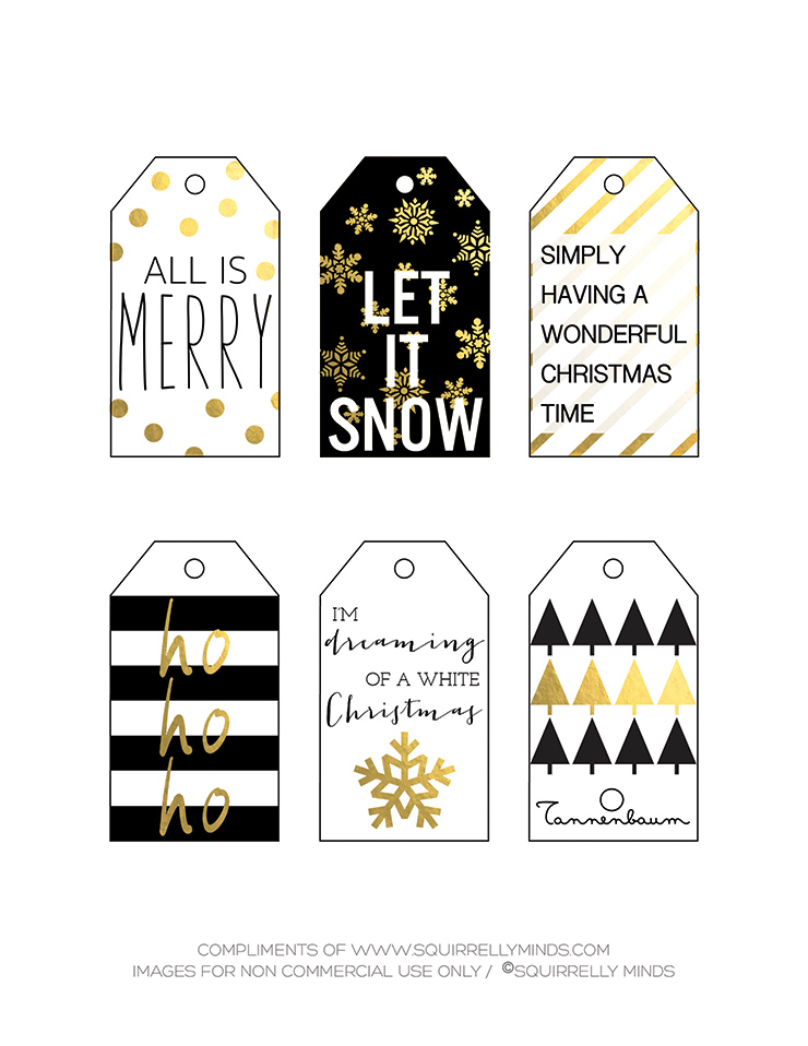 Printable Christmas Tags in Black, White, and Gold by Squirrelly Minds on The Holiday Collective