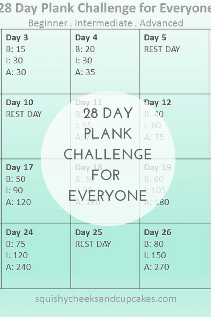 28 Day Plank Challenge for Everyone!! Monthly Fitness Challenge with ...