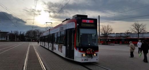 Eröffnungswagen GT8Z 262 im Betriebshof der Freiburger Verkehrs AG